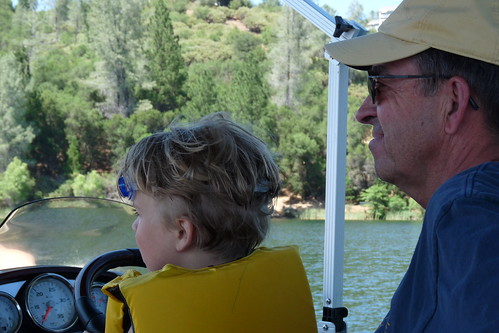 driving the boat with papa