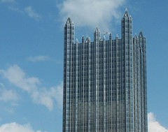 A skyscraper is a boast in glass and steel. (tarabunnyears) Tags: city building glass skyscraper downtown pittsburgh ppg tallbuilding downtownpittsburgh citybuilding ppgbuilding