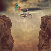 Leap of Faith (Shawn Van Daele) Tags: portrait cliff selfportrait storm rain bike bicycle photomanipulation photoshop balloons square grunge faith squareformat shawn 365 conceptual 52weeks 365days vandaele idream shawnvandaele photomanipulationselfportrait —obramaestra— leafoffaith
