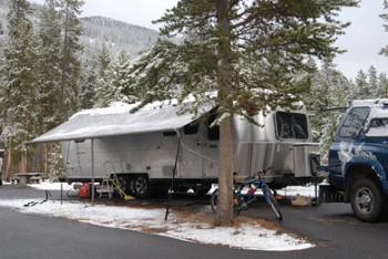 Airstream snow and over weighted awning