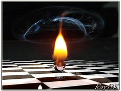 Flamed ball (RayDS) Tags: black ball fire photo 3d floor steel smoke flame rendering mywinners rayds infinestyle