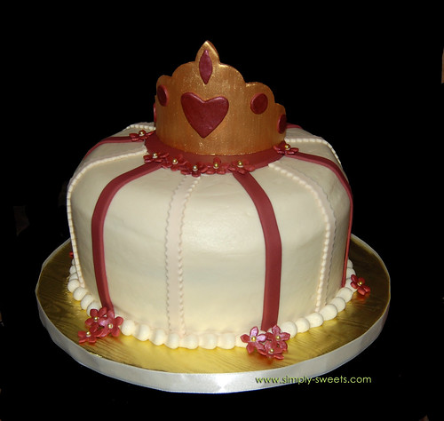 Maroon and Gold Princess Bridal Shower cake