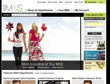 M&S homepage