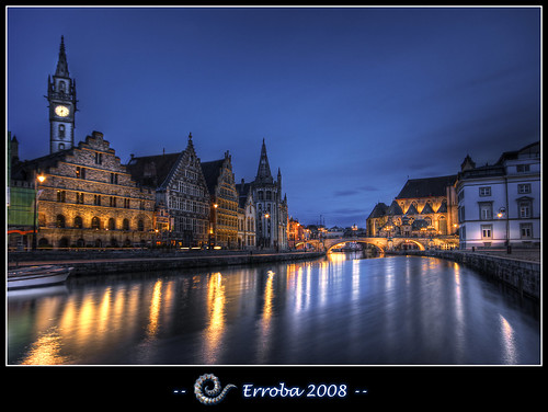 Graslei after sunset, Gent, Belgium :: 25,000 views ! (repost)