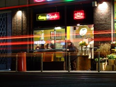Currywurst place at night (Sam Kelly) Tags: night nightshots longexposure light black red glow neon traffic currywurst food eatery berlin germany deutschland holiday travel fuji fujis9600