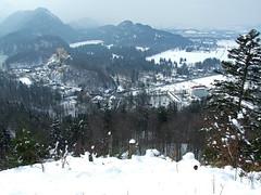 Hohenschwangau, Germany (tossmeanote) Tags: mountain snow mountains castle germany deutschland bavaria europa europe view path roads overlook neuschwanstein schloss hohenschwangau tossmeanote