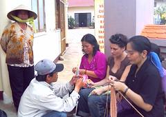 Comparing Hooks (stitchdiva) Tags: travel vietnam teaching dalat knitter stitchdivastudios jenniferhansen