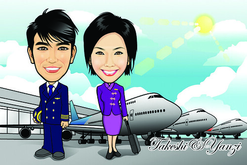 Q Digital Caricature Airline Theme Drawing