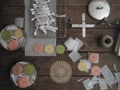 #4 (Nikole Herriott) Tags: pink green table buttons parchment package shortbread twine forsarah