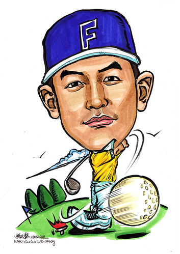 Caricature Singapore Navy golfer