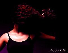 ...The hair Chronicles... (Photography by D Mesa) Tags: woman dark hair studio purple head expression unique creative mysterious effect rare pelo morado creativephoto creattivit