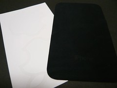White Apple Logo Sticker and Black Cloth