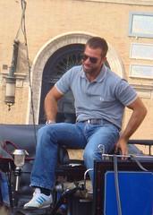 Roma 324 (danimaniacs) Tags: travel italy rome sunglasses beard wagon coach europe beefy handsome jeans denim driver tight scruff