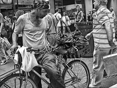 MR. BAG MAN ON BIKE (SamPac) Tags: newyorkcity blackandwhite streetphotography upclose