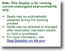 Making a Plane Reservation on AA.com: View Seats Note