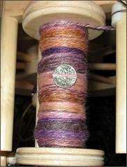 Plumcopper yarn, in progress