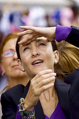 INGRID BETANCOURT LOOKING AT THE TOWER