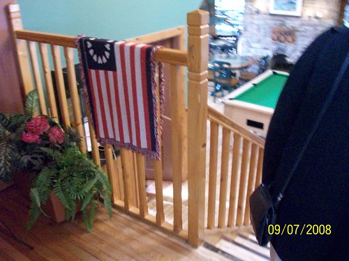 Ireland - Ring of Kerry Tour  - American flag throw in restaurant- Scarriff Inn