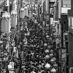 metropolis (ajpscs) Tags: street city people bw japan japanese tokyo blackwhite interesting nikon post metro crowd cables transformers  nippon metropolis  lamps d100 koiwa  edogawaku megacity shotengai monokuro ajpscs