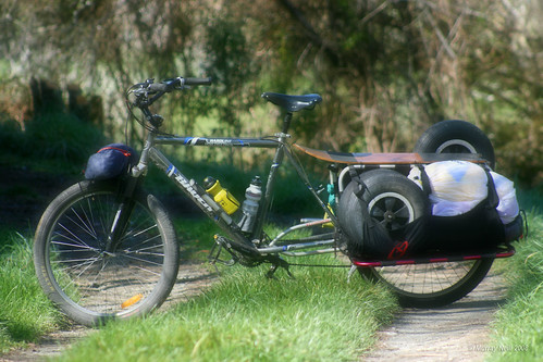 Xtracycle loaded for a kite buggy mission
