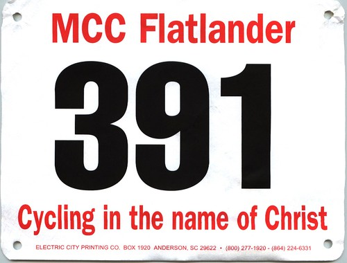 My tag from the MCC Flatlander ride