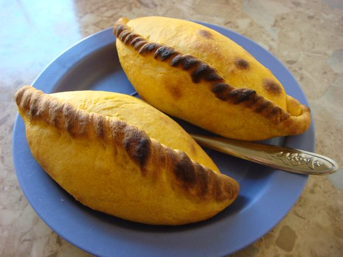 Surprisingly tasty salteñas or empanadas. Tupiza, Bolivia.