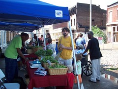 Opening Day with 14th St. construction in background (Old North St. Louis) Tags: city farmers market north