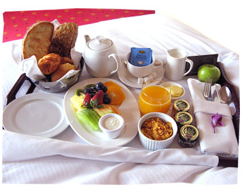 Breakfast in bed at The Grand Hotel, Melbourne