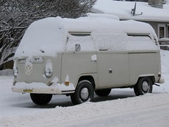 VW Bus covered in Snow in Anchorage, Alaska
