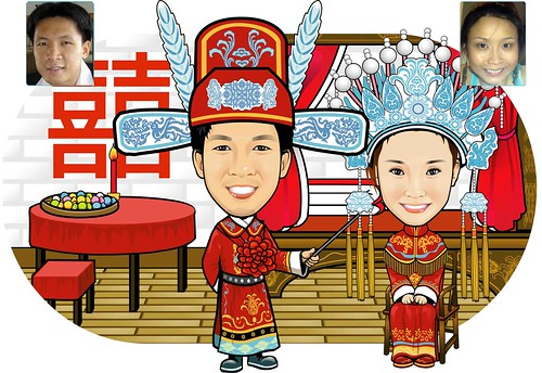 Digital Caricature Traditional Chinese Wedding Theme Drawing