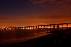 Bridge of Tranquility (Ross2085) Tags: uk bridge sky orange reflection beach water night wonderful river scotland amazing sand nikon view rivertay fife dundee ripple postcard scenic rail railway special tay newport wormit d40