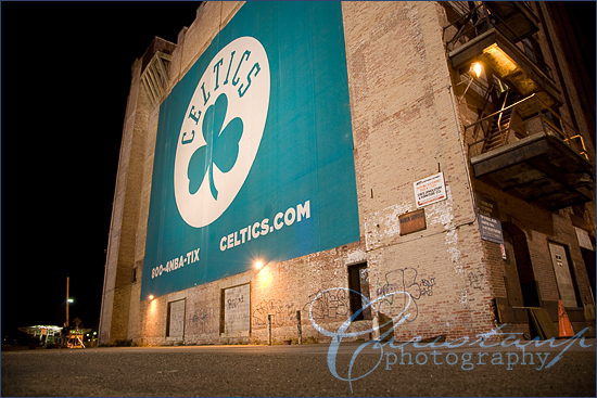 Huge Celtics banner on the side of a buiding by ChristanP Photography