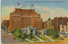 Gateway Park + Nicollet Hotel (Stuff about Minneapolis) Tags: city urban minnesota architecture hotel downtown postcard minneapolis twincities hennepin nicollet gatewaypark hotelnicollet