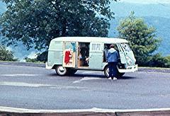 1971-07 Etna & our VW on Blue Ridge Pkwy (close up). (bsnenninger) Tags: vw 1971 blueridgeparkway etnags natlparksmonumentsmemorialsandhistoricsites