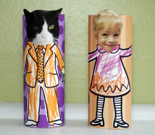 Halloween TP Roll Action Figures - starring Chessie the Cat as the zombie and Maya as the cute witch