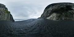 Reynisfjara basalt columns (Manυ) Tags: panorama black beach rain iceland day gloomy wind 360 vik handheld bleak dri spherical equirectangular enfuse