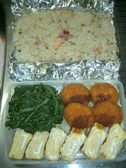 Bento to take to the soccer game (skamegu) Tags: rice egg bento japanesefood spinach croquette