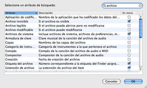 Captura de pantalla de Spotlight en Mac OS X con la lista completa de criterios de búsqueda
