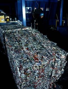 bundled aluminium cans