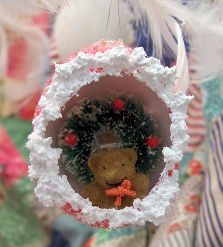 Red Egg Ornament with Bear