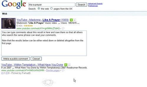Google SearchWiki in action