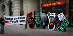 Financing Climate Change (ItzaFineDay) Tags: action banner protest environmental bank environment bmo carbon activism 2008 directaction economy ran investment footprint scotiabank banking sustainable sustainability finance bankofmontreal rainforestactionnetwork td co2 cibc rbc torontodominion carbonfootprint environmentalimpact financialsector financeindustry royalbankofcanaqda