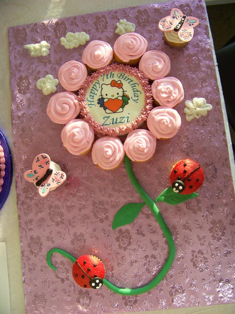 Hello Kitty Flower Cupcake Birthday Cake