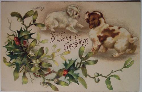 Старинные новогодние открытки винтаж с животными 6