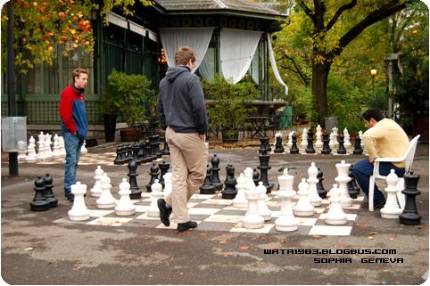 日内瓦大学校园里下棋的学生
