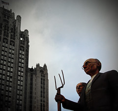"Chicago -- an -- American Gothic - God Bless America - a ""Tribune"" to America -- Wood-Johnson-Siefken (doug.siefken) Tags: wood city portrait sky people sculpture chicago tower art architecture geotagged illinois flickr downtown god michigan grant doug gothic johnson american r ave olympics douglas avenue tribune streeterville urbanscapes magmile chicagoist 2016 mediascape chicagoan siefken dougsiefken douglasrsiefken justchicagoart"