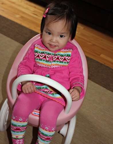lilah in the dolls stroller