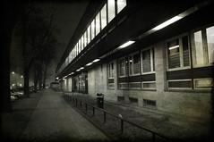 (mattrulez) Tags: street city trees windows winter urban white black building nature night dark evening nikon raw krakow sidewalk krakoff