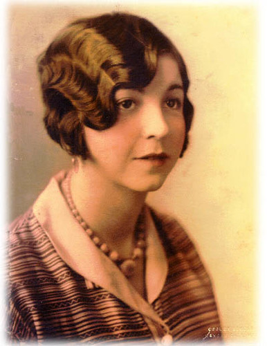 My grandmother wearing a finger wave in the 1920's.