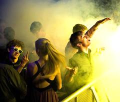 New Year's Eve (Jane Hoskyn) Tags: lighting party people music london yellow club dance candid stage smoke nye strangers clubbing explore newyearseve venue 2008 dryice 50mmf18 elephantandcastle punters ibizarocks explored thecoronet thefrontrow ibizaunderground streetphotographycandidstreetportrait